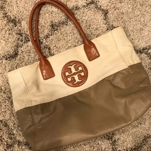 Tory Burch two toned canvas tote bag